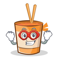 Super hero cup noodles character cartoon vector