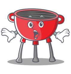 Surprised barbecue grill cartoon character vector