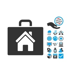 Realty case flat icon with bonus vector