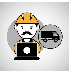 Under construction laptop worker dump truck vector