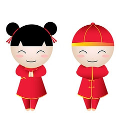 Chinese girl-boy greetings vector