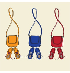 Trendy shoes and matching handbags vector
