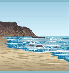 Ocean coast with rock vector