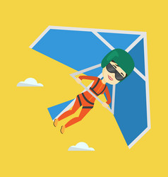 Woman flying on hang-glider vector