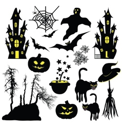 Halloween objects isolated on white background vector