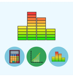 Set icons with calculator indicator chart vector