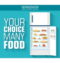 Flat fridge full of many food background concept vector