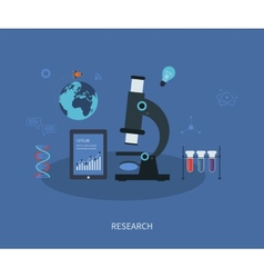 Research flat infographic with a laboratory vector
