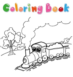 Train cartoon coloring book vector