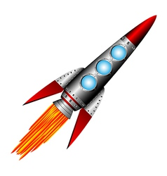 Starting rocket on white vector