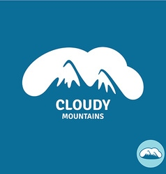 High mountain peaks in a cloud sky logo template vector