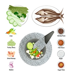 10 ingredients spicy shrimp paste sauce recipe vector