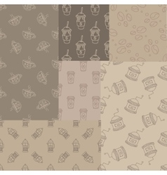 Mosaic Collection Of Seamless Coffee Themed vector image