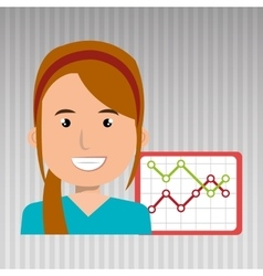 Businessperson with statistic graph isolated icon vector