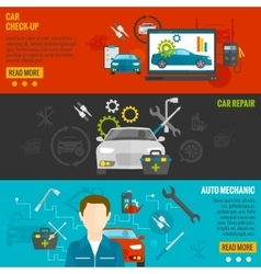 Auto mechanic banner set vector