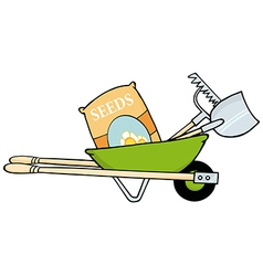 Barrow With Seeds A Rake And Shovel vector image vector image
