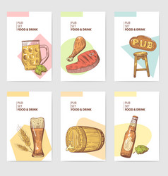 beer pub brochure template hand drawn menu vector image vector image
