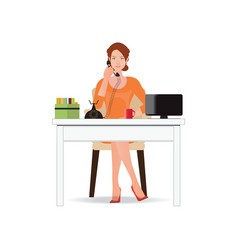 business woman talking on the phone in office vector image vector image