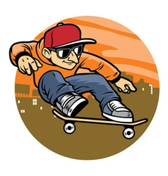 Cartoon man doing skateboard jump trick vector