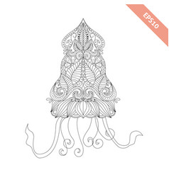Cartoon squid with ornament vector