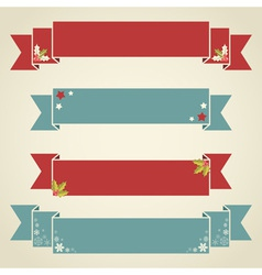 Christmas ribbons for text in retro style vector image