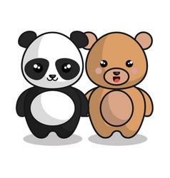 Cute animals kawaii style vector