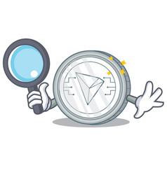 Detective tron coin character cartoon vector