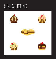 flat cake set of sweetmeat cupcake confectionery vector image vector image