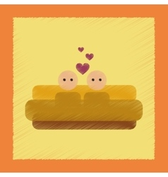 flat shading style icon gay in bed vector image