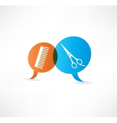 flat speech bubble icon with hairdressing tools vector image vector image