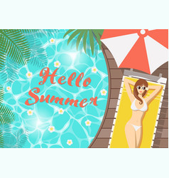 Hello summer woman on pool deck vector