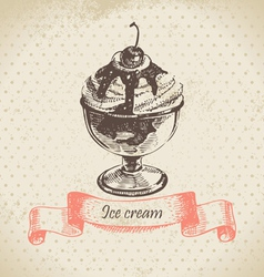 Ice cream hand drawn vector image