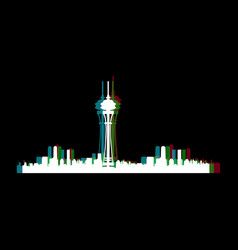 isolated seattle cityscape vector image