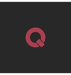 Letter q monogram simple logo thin line broken vector