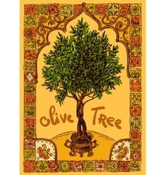 Olive tree and frame vector