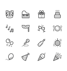 party element black icon set on white background vector image vector image