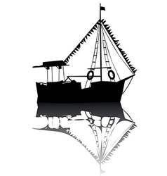Sailing boat silhouette vector image