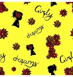 seamless pattern of girl silhouette and vector image