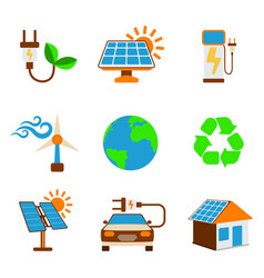 Set of eco energy icon energy label for web on vector