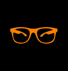sunglasses sign orange icon on black vector image