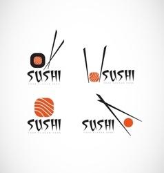 Sushi fish restaurant logo vector