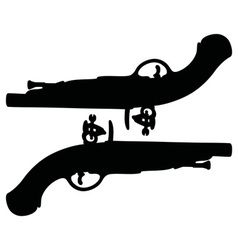 Two historical duel pistols vector