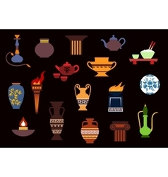 Various flat containers and kitchenware vector