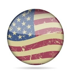 Vintage button waving flag of usa - grunge style vector