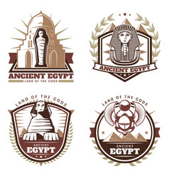 vintage colored ancient egypt emblems set vector image vector image