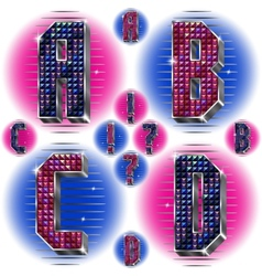 Volume letters ABCD with shiny rhinestones vector image vector image