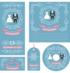 Wedding invitations setwinter decor with dresses vector