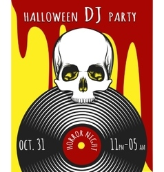 Halloween dj party poster vector