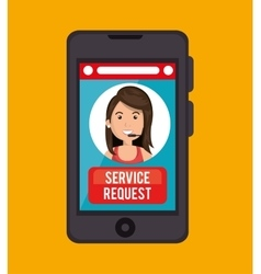 Service request call center girl vector