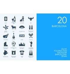 Set of blue hamster library barcelona icons vector